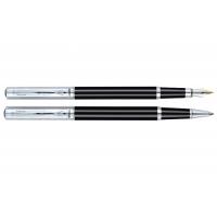 Комплект із перової ручки и ручки-ролера в подарунковому футлярі (чорний металік) Regal R131200.L.FR