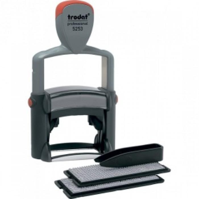 Самонаборный штамп 6-ти строчный металлический Trodat Printy 5253, лат, серый