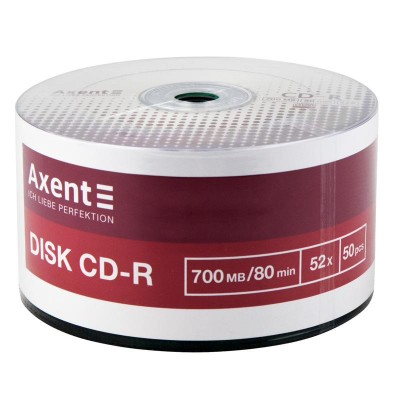 Диск CD-R AXENT 700MB/ 80min 52x bulk 50шт. 8102-A