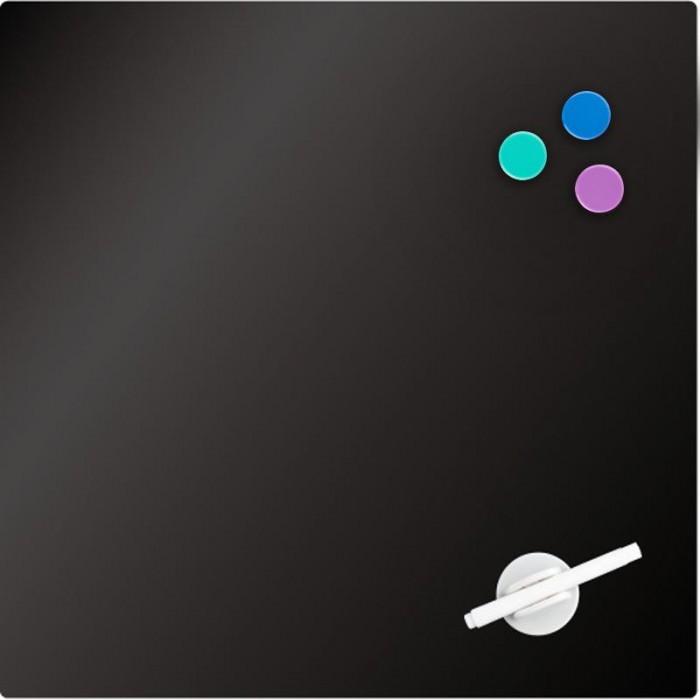Дошка скляна, магнітно-маркерна, чорна (45х45см)