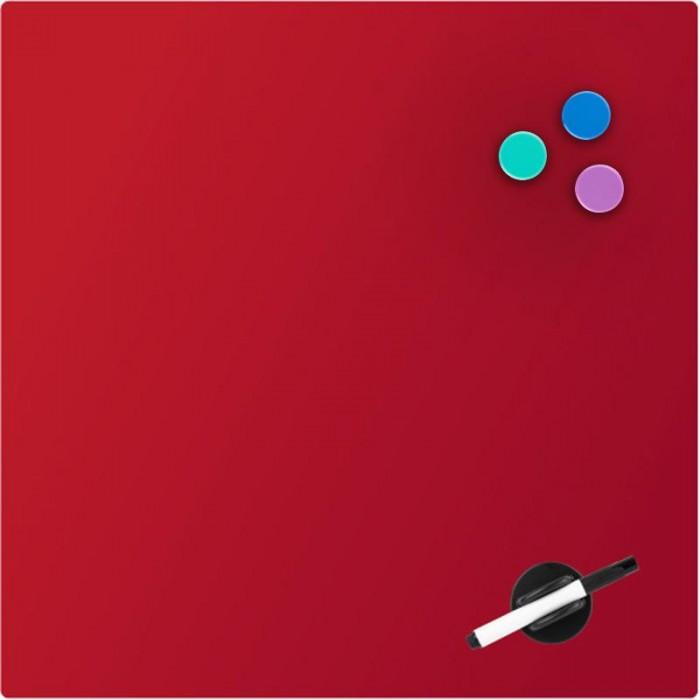 Дошка скляна, магнітно-маркерна, червона (45х45см)