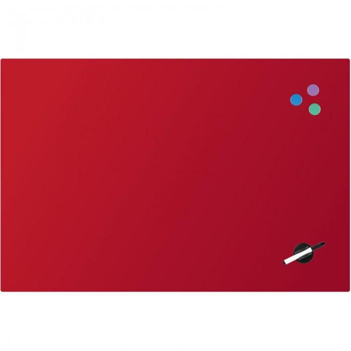 Дошка скляна, магнітно-маркерна, червона (60х90см)