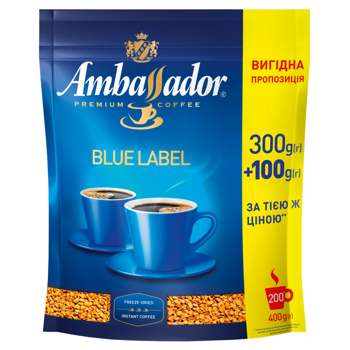 Кофе растворимый Ambassador Blue Label 400г.