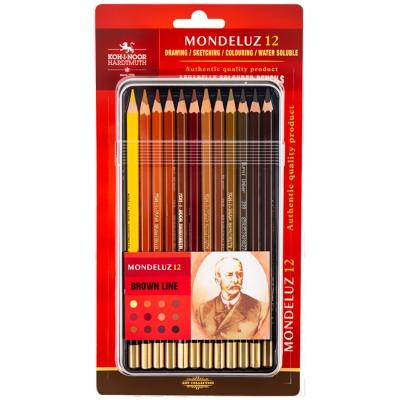Карандаши акварельные художественные Mondeluz Brown Line (12 цв)