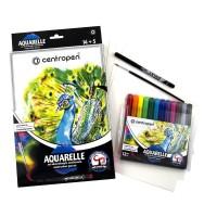 Фломастери акварельні  (12 кольорів)+ 1 лінер+1 пензлик+5 аркушів акварельного паперу  9383