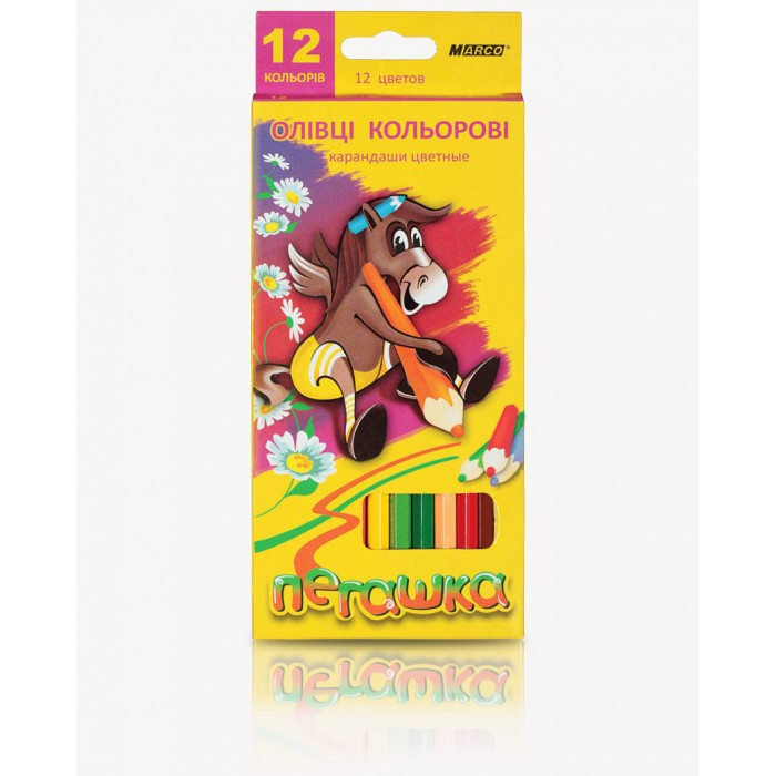 Карандаши цветные Пегашка Jumbo +точилка (12 цв) 1040-12СВ