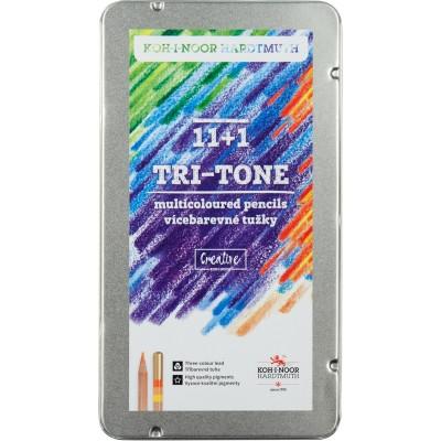 Карандаши цветные TRI-TONE (11+1) в металлической коробке