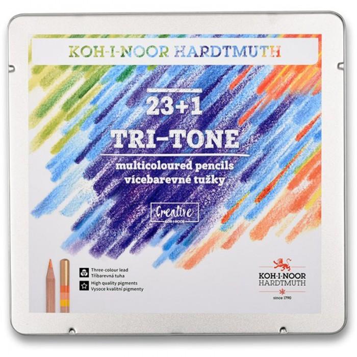 Олівці кольорові TRI-TONE (23+1) в металевій коробці