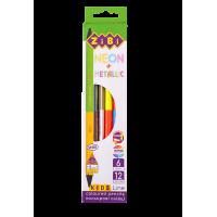Карандаши цветные двухсторонние NEON+METALLIC (12 цветов) ZB.2465
