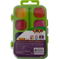 Акварель (8 цветов, пластиковый салатовый пенал) ZB.6542-15