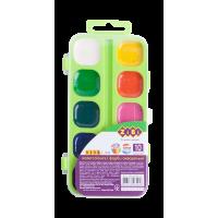 Акварель (10 кольорів, салатовий пластиковий пенал) ZB.6543-15