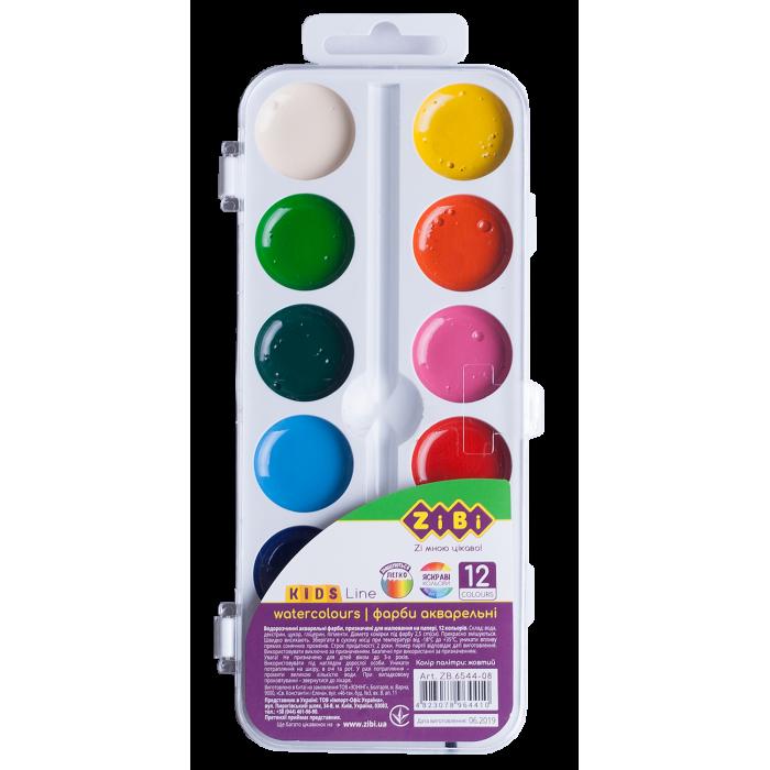 Акварель (12 кольорів, ,білий пластиковий пенал) ZB.6544-08