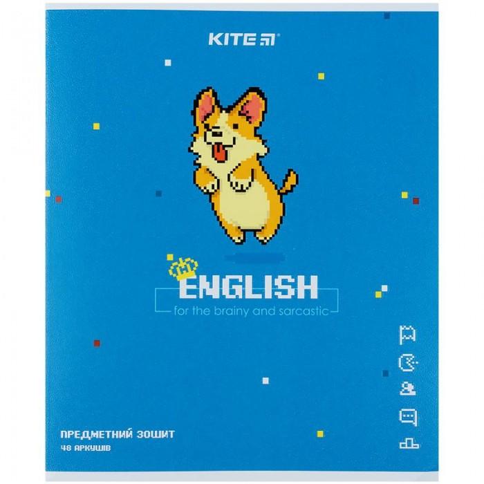 Зошит предметний 48 аркушів, клітинка Pixel, англійська мова (8шт)