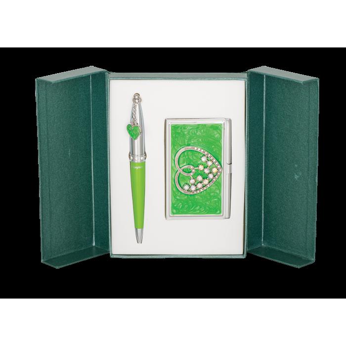 Набір подарунковий Crystal Heart: ручка кулькова + візитниця (зелений) LS.122008-04