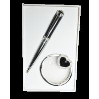 Набор подарочный Crystal: ручка шариковая + крючок для сумки (черный) LS.122028-01