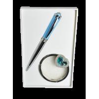 Набор подарочный Crystal: ручка шариковая + крючок для сумки (синий) LS.122028-02