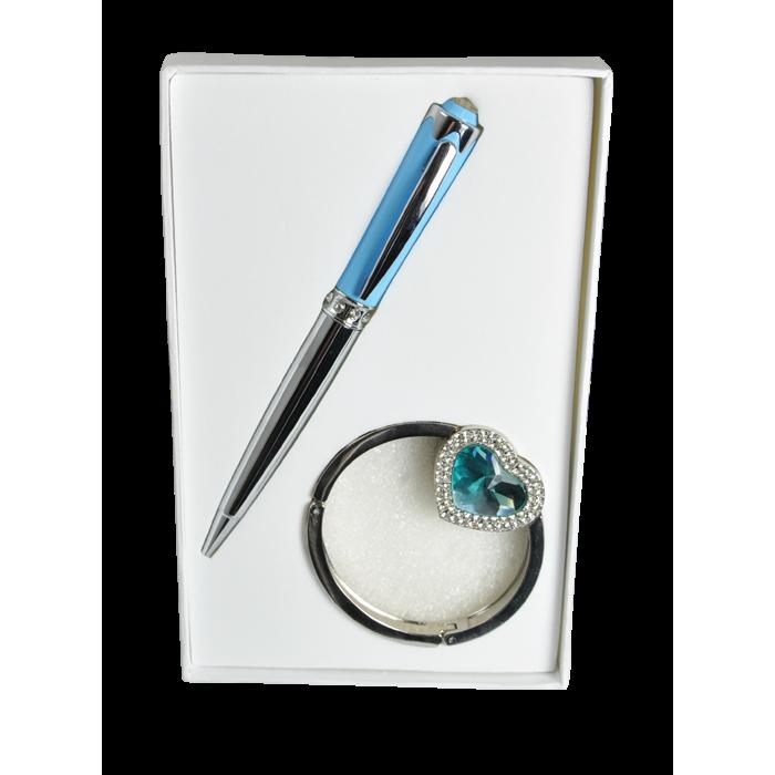 Набір подарунковий Crystal: ручка кулькова + гачок для сумки (синій) LS.122028-02