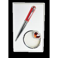 Набор подарочный Crystal: ручка шариковая + крючок для сумки (красный) LS.122028-05