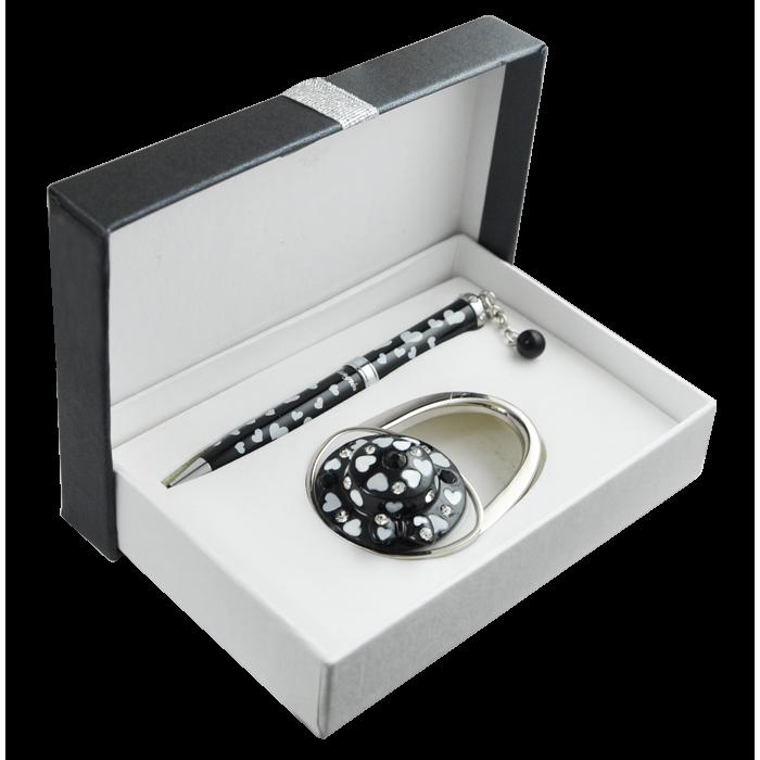 Набір подарунковий Elegance: ручка кулькова + гачок для сумки (чорний) LS.122029-01
