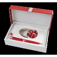 Набір подарунковий Elegance: ручка кулькова + гачок для сумки (червоний) LS.122029-05