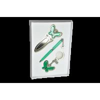 Набір подарунковий Fly: ручка кулькова+брелок+закладка для книг (зелений) LS.132001-04