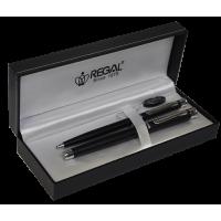 Комплект из перьевой и шариковой ручек в подарочном футляре (черный)  Regal