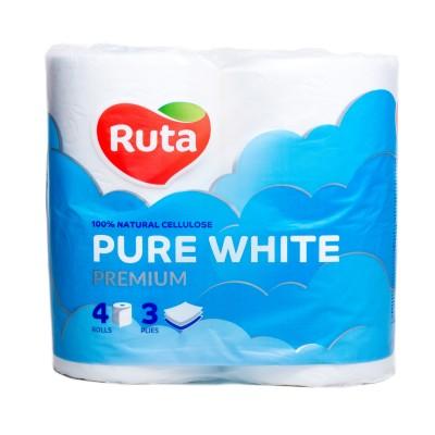 """Папір туал. """"Pure White"""" 4 рул., на гільзі, 3-х сл., білий RUTA"""